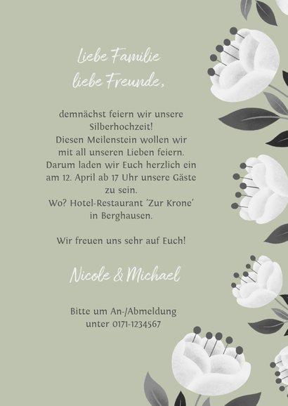 Einladung zum Hochzeitsjubiläum grün mit weißen Blumen 3