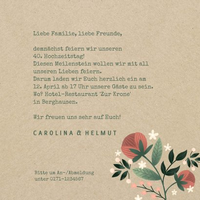 Einladung zum Hochzeitsjubiläum Kraftpapier & Blumen 3