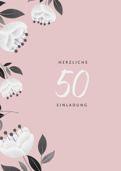 Einladung zum Hochzeitsjubiläum rosa mit weißen Blumen 2