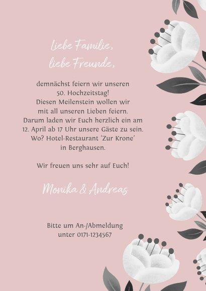 Einladung zum Hochzeitsjubiläum rosa mit weißen Blumen 3