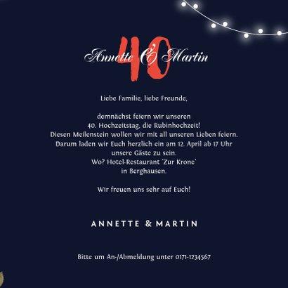 Einladung zum Hochzeitsjubiläum Rosen & Lichterkette 3