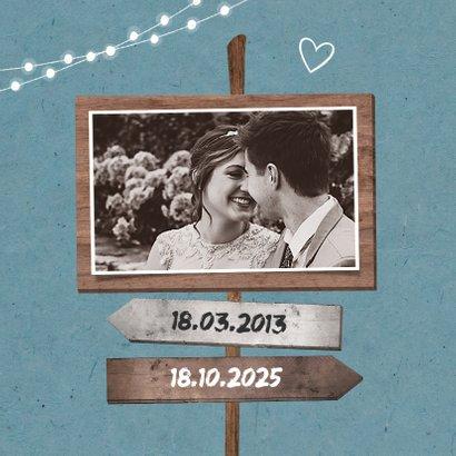 Einladung zum Hochzeitsjubiläum Foto Schilder & Lichter blau 2