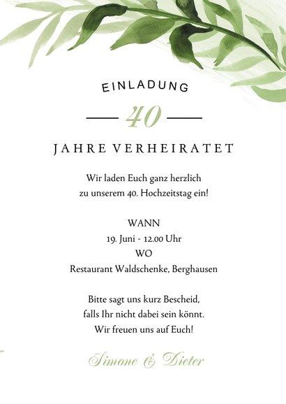 Einladung zum Hochzeitstag botanisch mit Foto 3