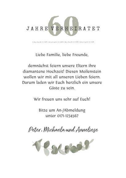 Einladung zum Hochzeitstag Foto, Eukalyptus und Spitze 3