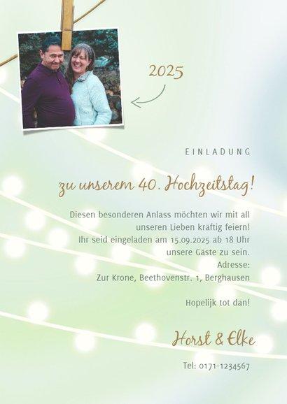Einladung zum Hochzeitstag Fotos auf Wäscheleine 3