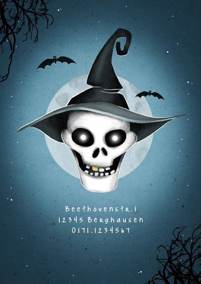 Einladung zum Kinder-Halloween-Fest Totenkopf mit Hut 2