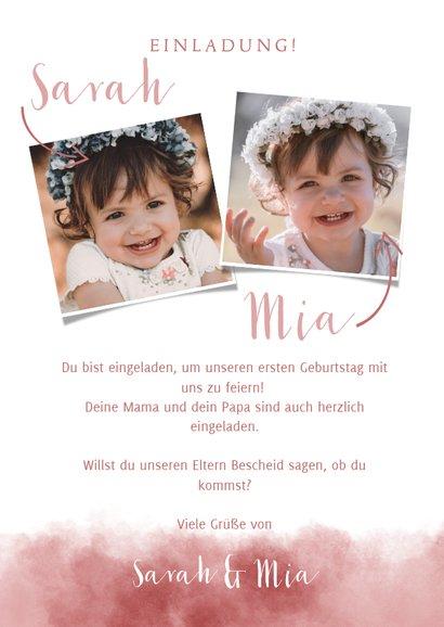 Einladung zum Kindergeburtstag Aquarellrosa für Zwillinge  3