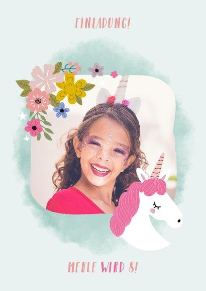 Einladung zum Kindergeburtstag Einhorn und Blumen 2