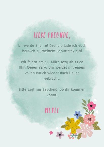 Einladung zum Kindergeburtstag Einhorn und Blumen 3