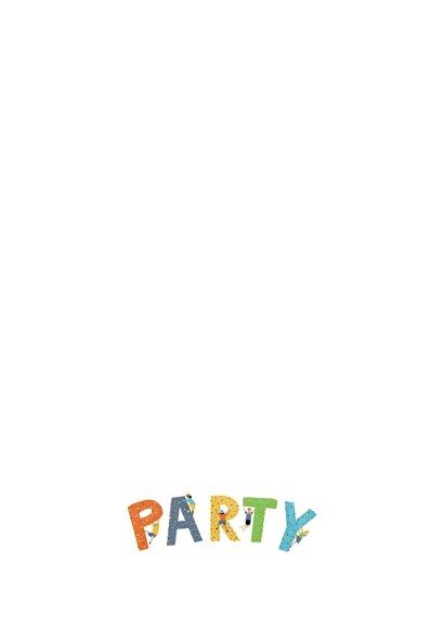 Einladung zum Kindergeburtstag Foto Kletterparty Rückseite