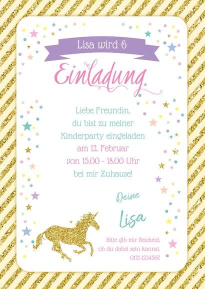 Einladung zum Kindergeburtstag Goldenes Einhorn 3