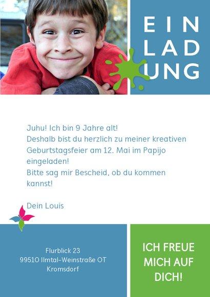 Einladung zum Kindergeburtstag im Papijo blau 3