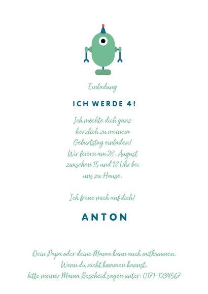 Einladung zum Kindergeburtstag Kleiner Roboter 3