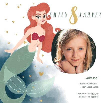Einladung zum Kindergeburtstag Meerjungfrau und Wasserfarbe 2