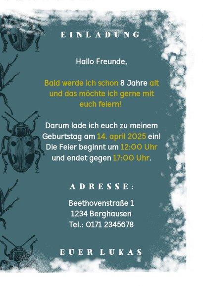 Einladung zum Kindergeburtstag mit Käfern 3