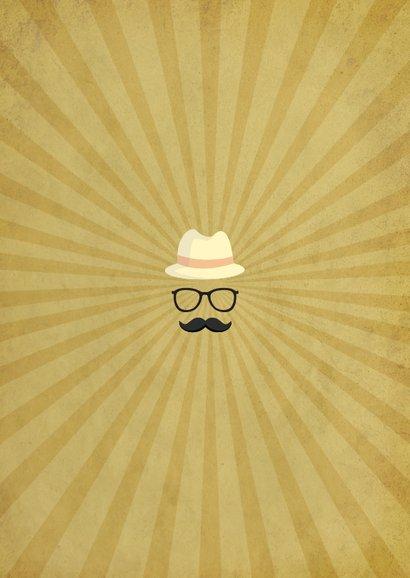 Einladung zum Kindergeburtstag Moustache beige Rückseite