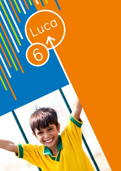 Einladung zum Klettern blau-orange mit Fotos 2