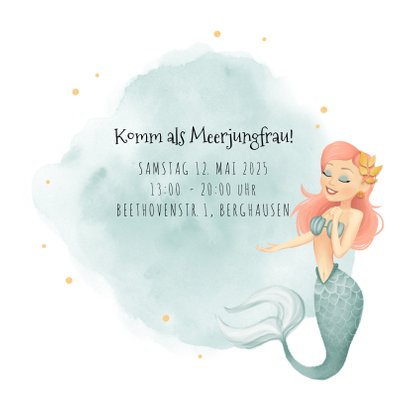 Einladung zum Meerjungfrauen Geburtstag Wasserfarbe mit Foto 2