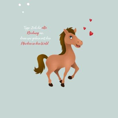 Einladung zum Pferdegeburtstag mit Foto, Pferd und Herzen 2
