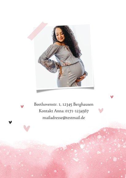 Einladung zur Babyparty rosa Wasserfarbe 2