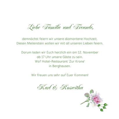 Einladung zur diamantenen Hochzeit Rosenstrauß 3
