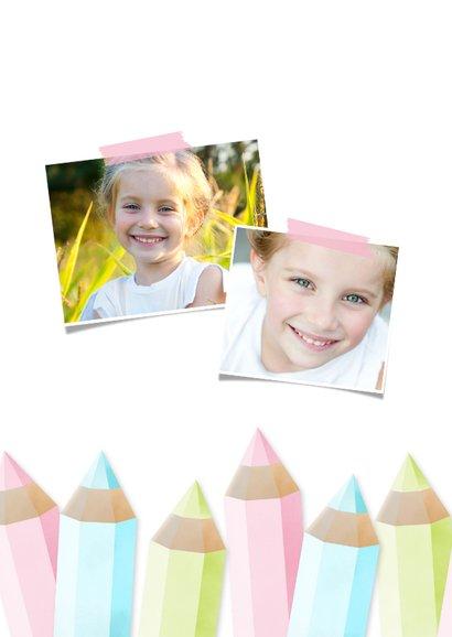 Einladung zur Einschulung Buntstifte rosa und eigenes Foto 2