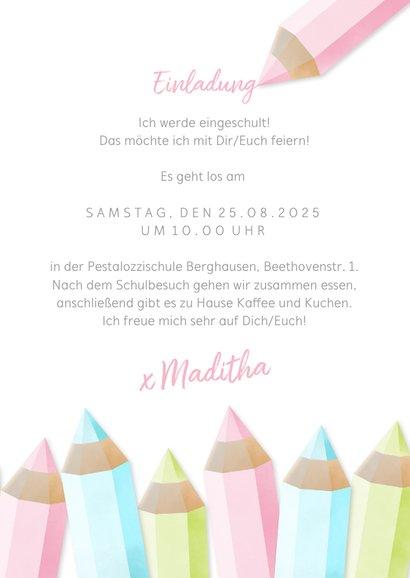 Einladung zur Einschulung Buntstifte rosa und eigenes Foto 3