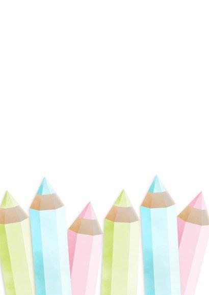 Einladung zur Einschulung Buntstifte rosa und eigenes Foto Rückseite