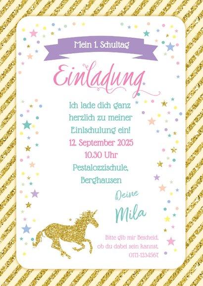 Einladung zur Einschulung Einhorn & Regenbogen 3