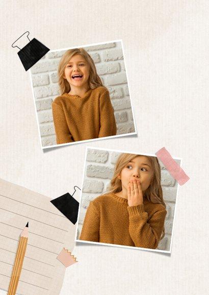 Einladung zur Einschulung Foto, rosa Spitzer & Bleistift 2