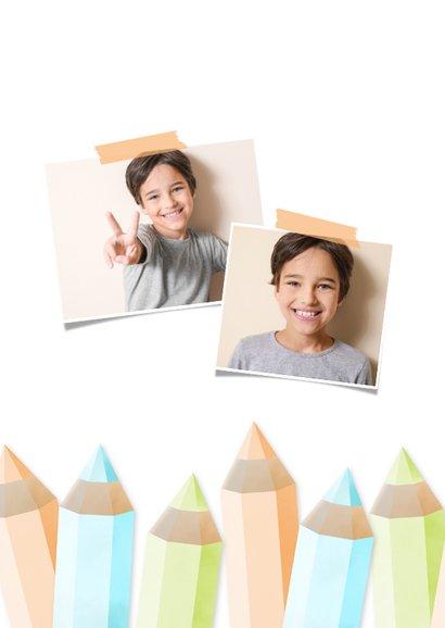 Einladung zur Einschulung orange Buntstifte und eigenes Foto 2