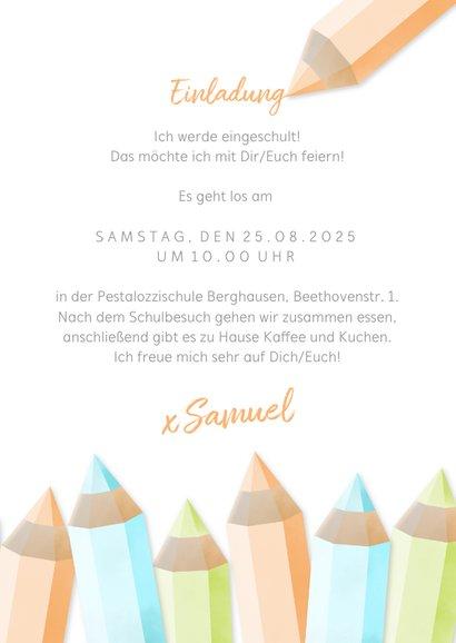 Einladung zur Einschulung orange Buntstifte und eigenes Foto 3