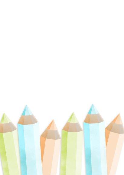 Einladung zur Einschulung orange Buntstifte und eigenes Foto Rückseite