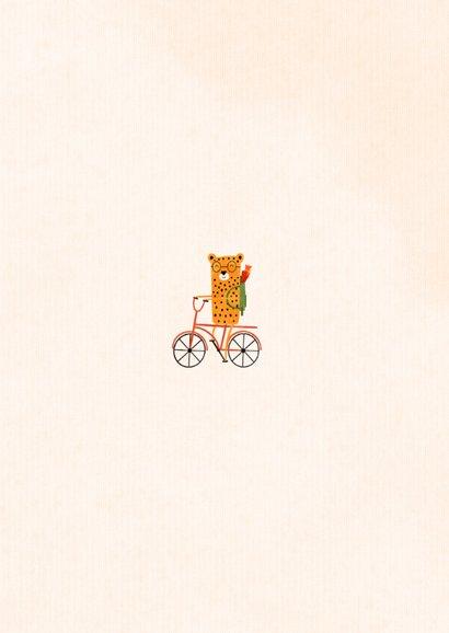 Einladung zur Einschulung rotes Rad mit Leopard Rückseite