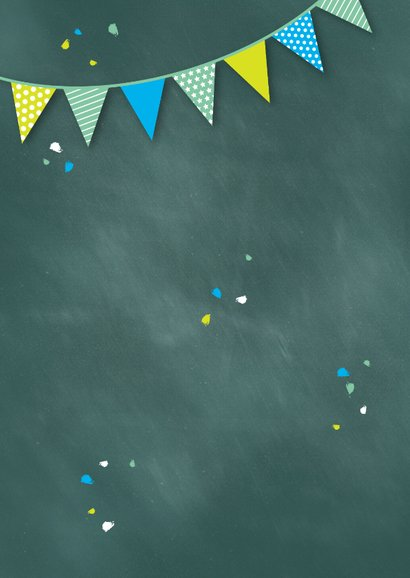 Einladung zur Einschulung Schultafel grünblau und Foto Rückseite