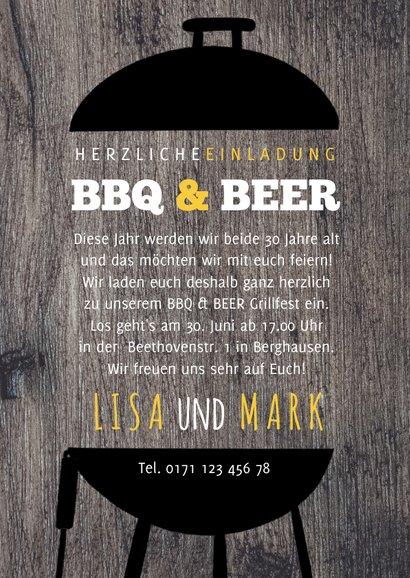 Einladung zur Geburtstagsparty BBQ & BEER 3