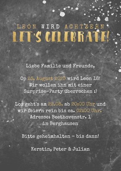 Einladung zur Geburtstagsparty Let's celebrate 3