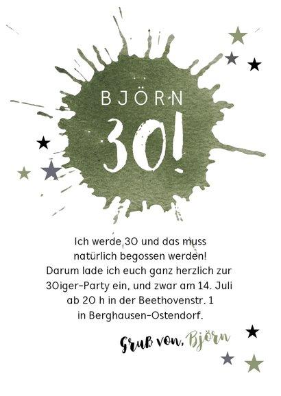 Einladung zur Geburtstagsparty Party Stars grün 3