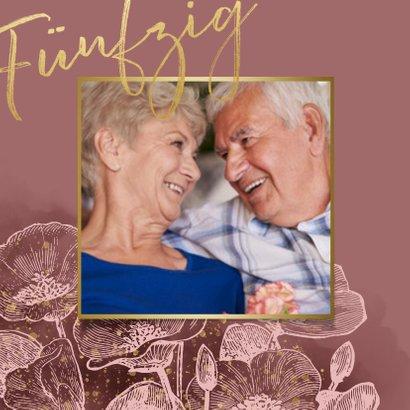 Einladung zur goldenen Hochzeit Blumen in rosé 2