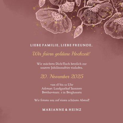 Einladung zur goldenen Hochzeit Blumen in rosé 3