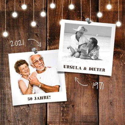 Einladung zur goldenen Hochzeit Holz mit Fotos 2