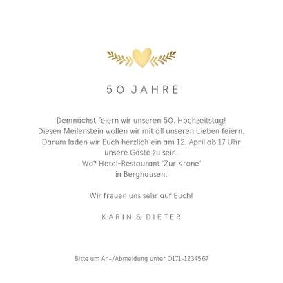 Einladung zur goldenen Hochzeit mit Tauben gold 3