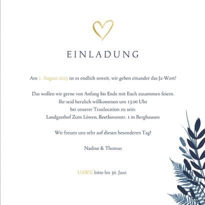 Einladung zur Hochzeit dunkelblau mit Foto und Pflanzen 3