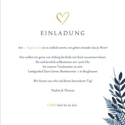 Einladung zur Hochzeit dunkelblau Pflanzen & Foto 3