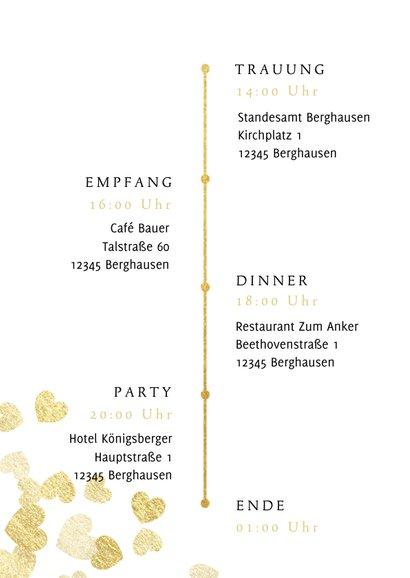 Einladung zur Hochzeit Goldene Herzen 2