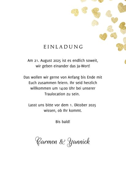 Einladung zur Hochzeit Goldene Herzen 3