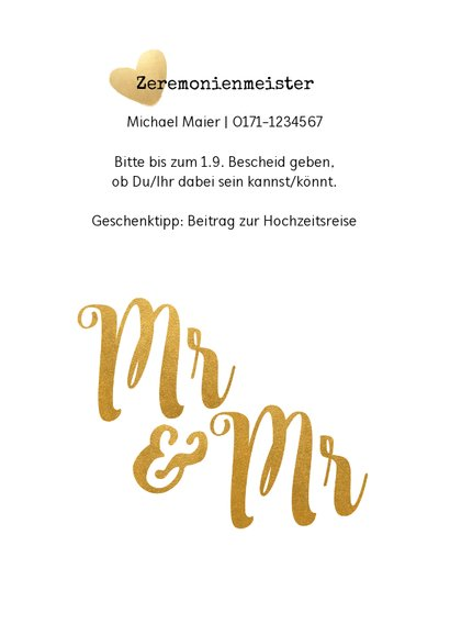 Einladung zur Hochzeit Mr. & Mr. Buchstaben in Goldlook 2