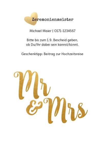 Einladung zur Hochzeit Mr. & Mrs. Buchstaben in Goldlook 2