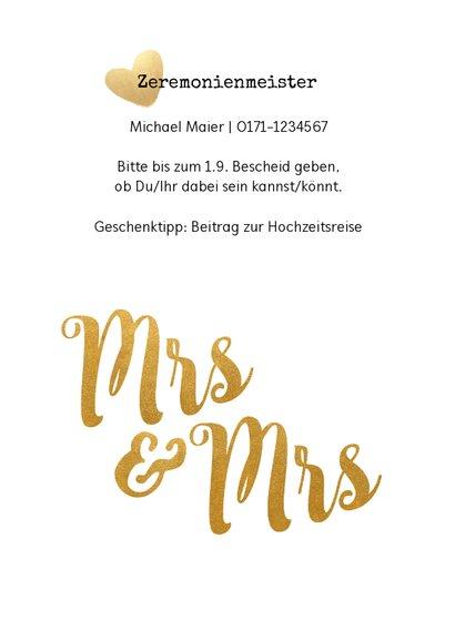 Einladung zur Hochzeit Mrs. & Mrs. Buchstaben in Goldlook 2