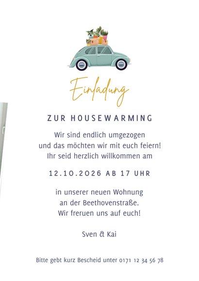 Einladung zur Housewarming Käfer & Fotos 3